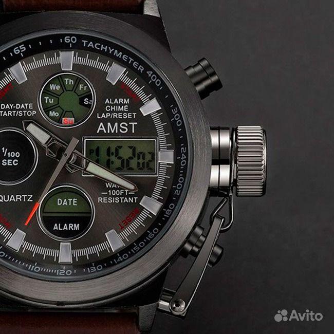Армейский часы amst металлическим браслетом
