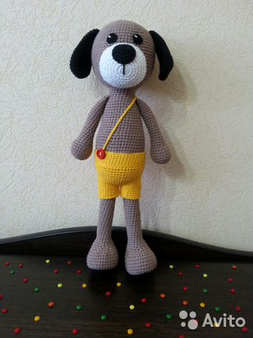 Мягкая игрушка вязанная собака
