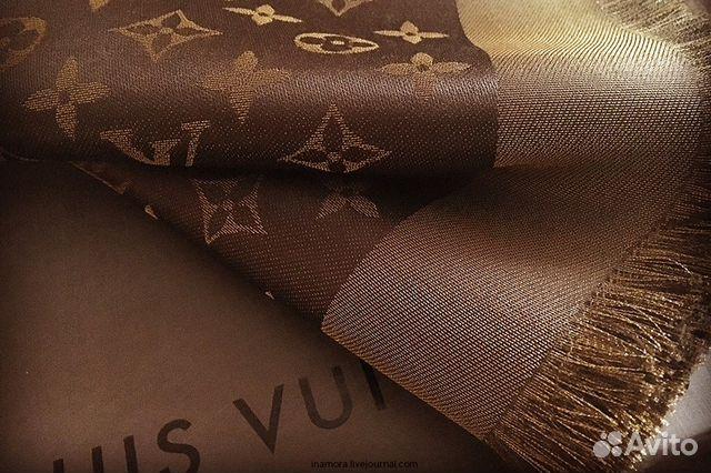 8d80352e837f Шаль Louis Vuitton коричневый с золотым