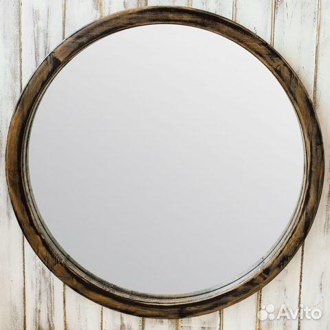 круглое зеркало в деревянной раме купить в московской