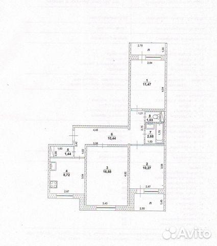 Продается трехкомнатная квартира за 2 350 000 рублей. Ульяновск, проспект Академика Филатова.