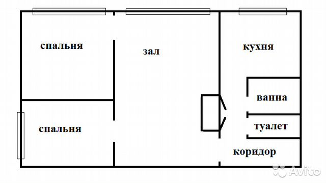 Продается трехкомнатная квартира за 2 400 000 рублей. г Тула, ул Калинина, д 6 к 1.