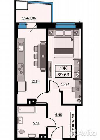 1-к квартира, 39.2 м², 23/25 эт. купить 1