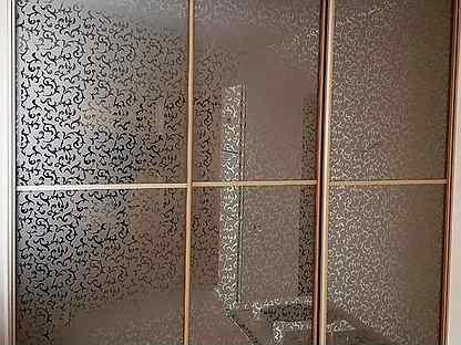 Двери для шкафа-купе с витражом шк-38