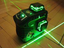 Лазерный уровень зеленый 3D, дальномер и штанга